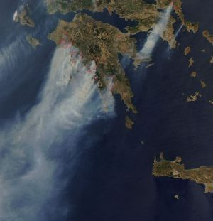 Photograph of Greece burning on 2007-08-25. Photo by NASA.